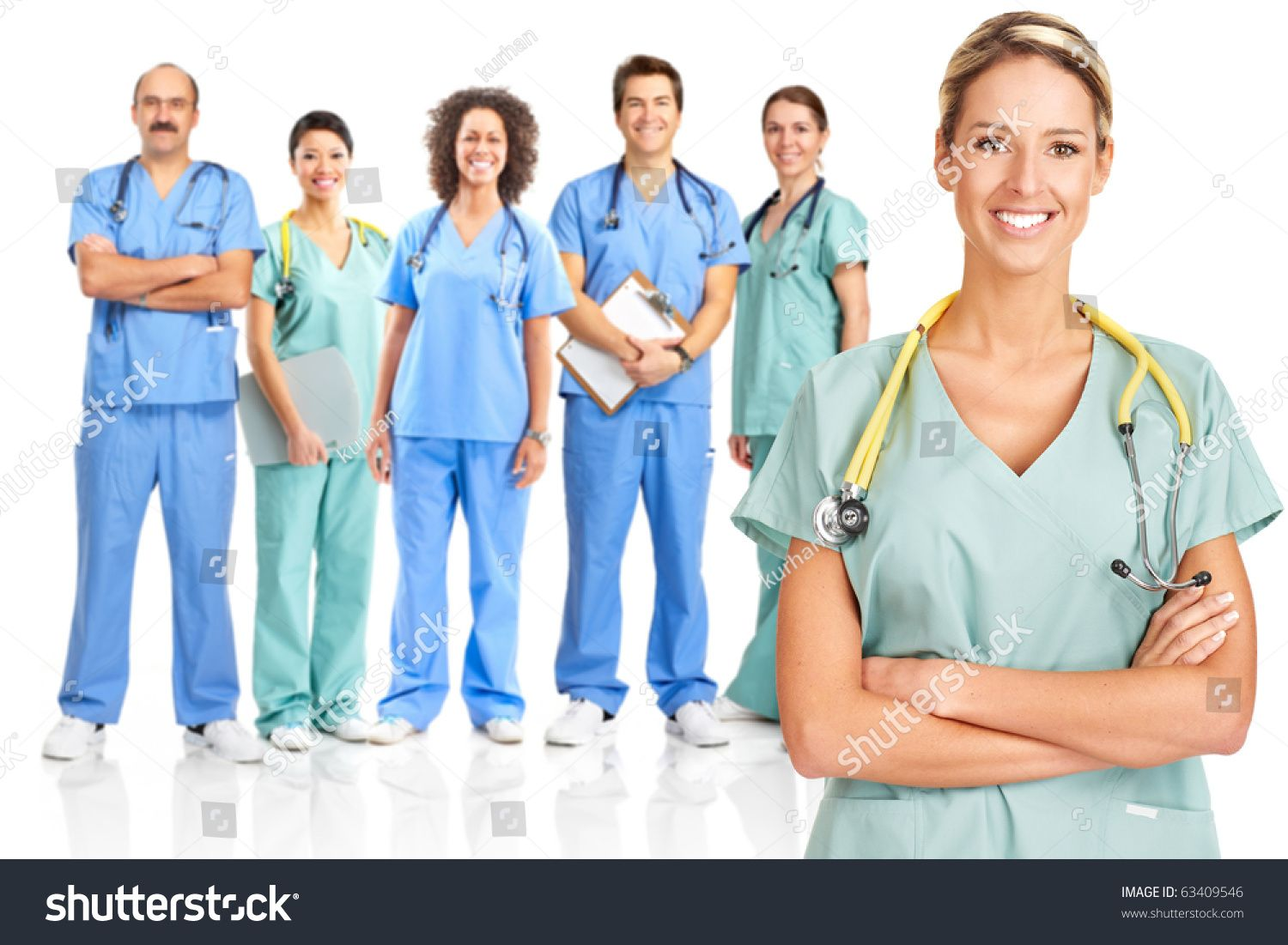 Smiling medical doctors with stethoscopes. Isolated over