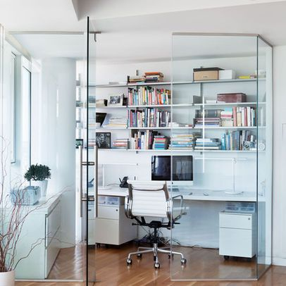 Home Office With Glass Wall Partition