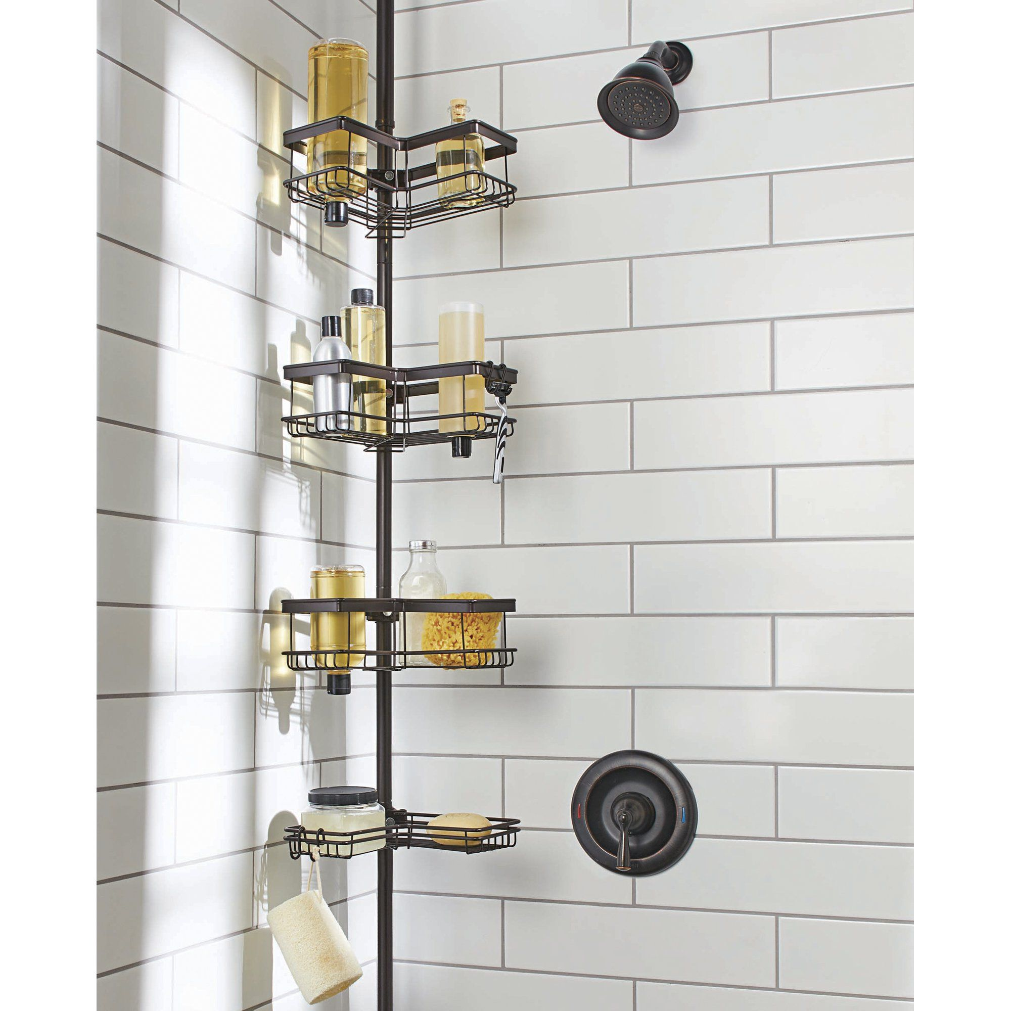 4 Tier Rust Resistant Contoured Tension Pole Shower Caddy 60 In To 108 In Oil Rubbed Bronze Walmart Com In 2021 Bathroom Shower Organization Shower Organization Shower Caddy