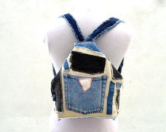 Patchwork Backpack, Denim Cotton Backpack. Mini Backpack. Triangle Rucksack, Canvas Backpack. Ready to Ship,Single Copy.