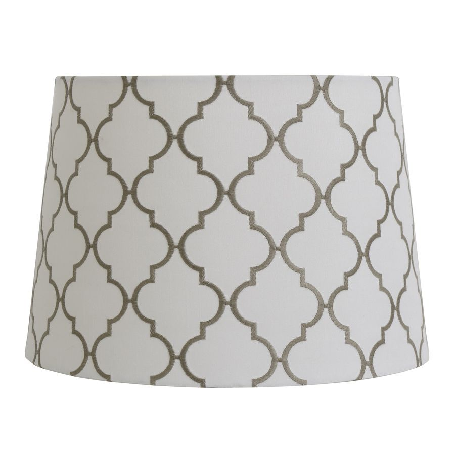 Allen Roth 9 In X 13 In White With Gray Embroidery Fabric Drum