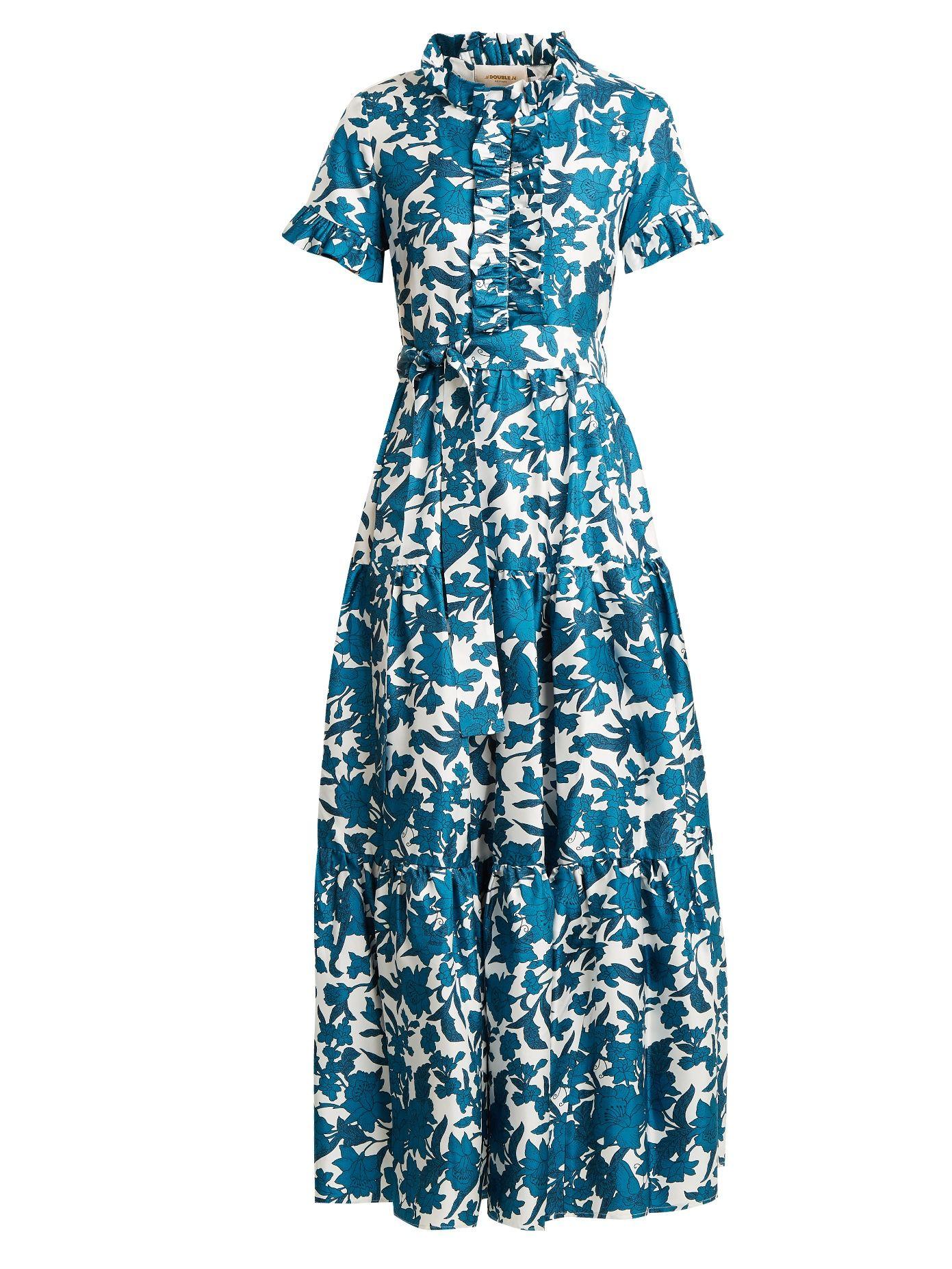 La DoubleJ Editions Long & Sassy Lilium Blu-print ruffled silk dress ...