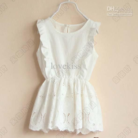 Fashion Girls Cute White Dresses Kids Summer Dress Children Wear ...