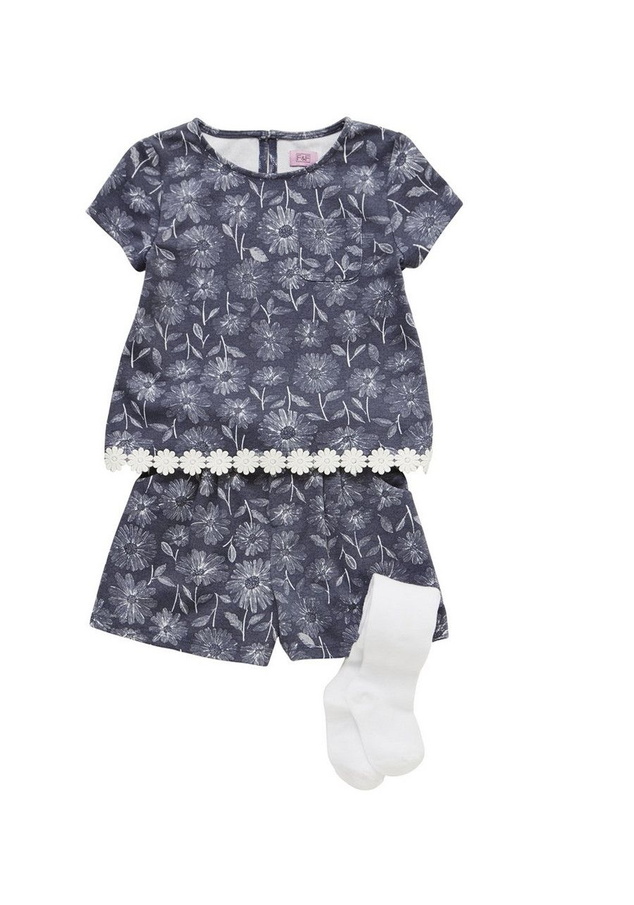 Clothing at Tesco | F&F Daisy Print Top and Shorts Set with Tights > sets >