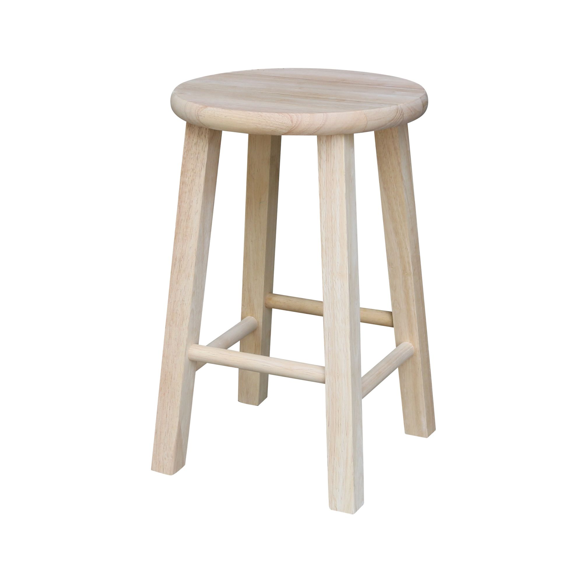 Round Top Stool 18 Seat Height Walmart Com Wooden Stools Wood Bar Stools Stool