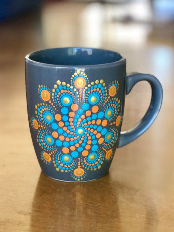Coffee Cup Mug Dot Mandala 12 Oz Hand Painted Gray Orange