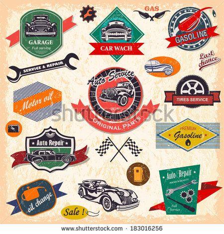 Stock Vector Set Of Retro Vintage Car Labels 183016256 Jpg 450 470 Garage Logo Classic Cars Vintage Automotive Logo