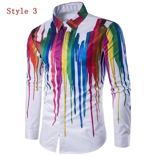 New Men Casual Long sleeve Hoodie Hip-hop Fashion Youth Rock Floral Tops Plus sz