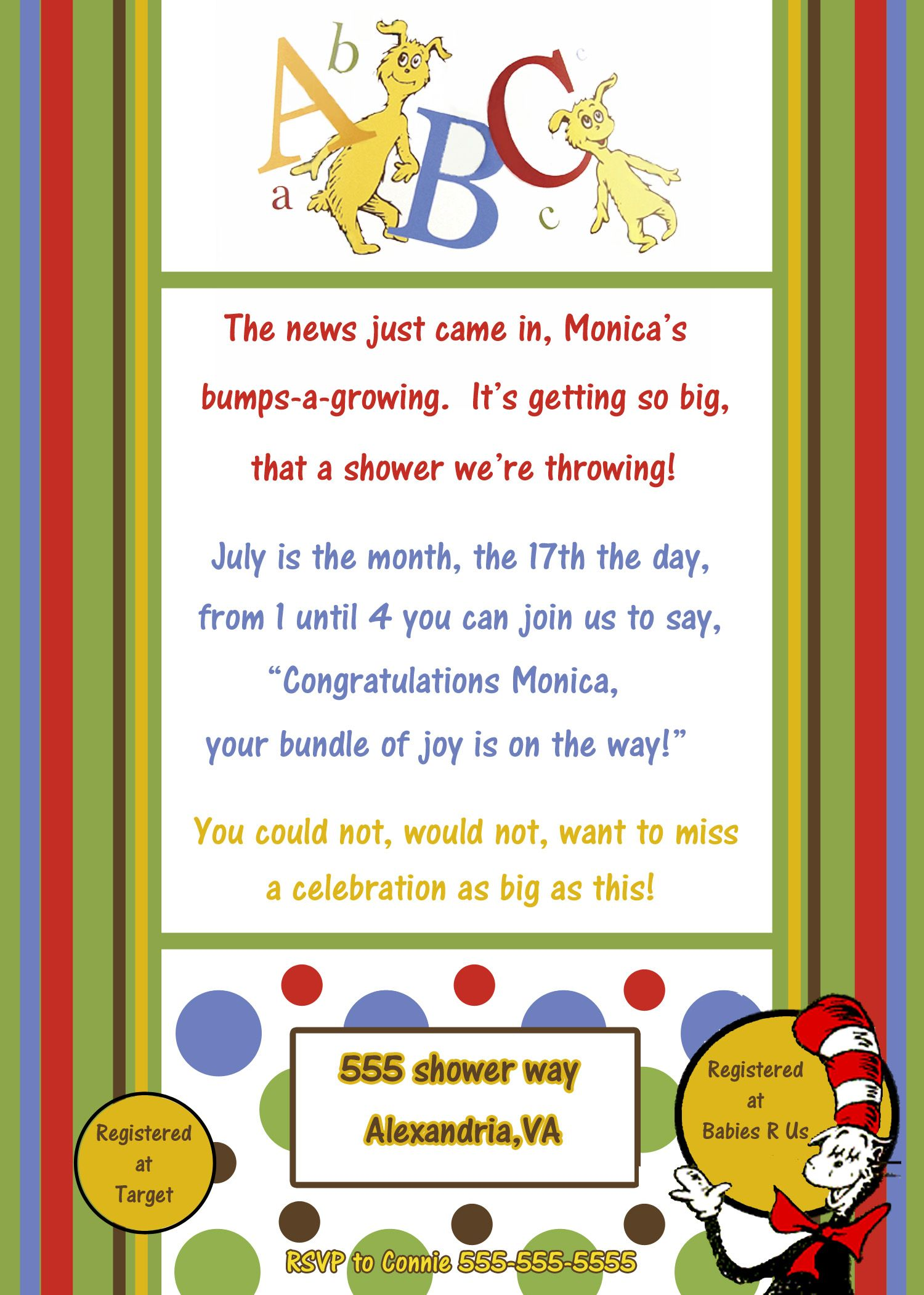 Dr Seuss Baby Shower Invite Wwwannouncementspluscom Lorine