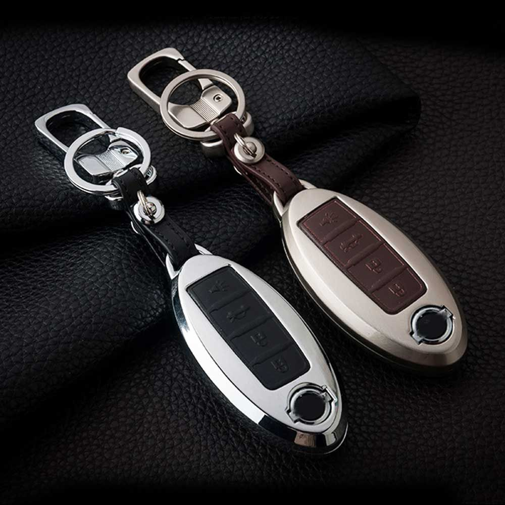 ATOBABI Zinc Alloy+Leather Car Key Cover Case Shell For