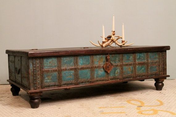 Distressed Blue Antique Indian Wedding Trunk Coffee Table Chest W/ Lock  Brass Strapped Teak And