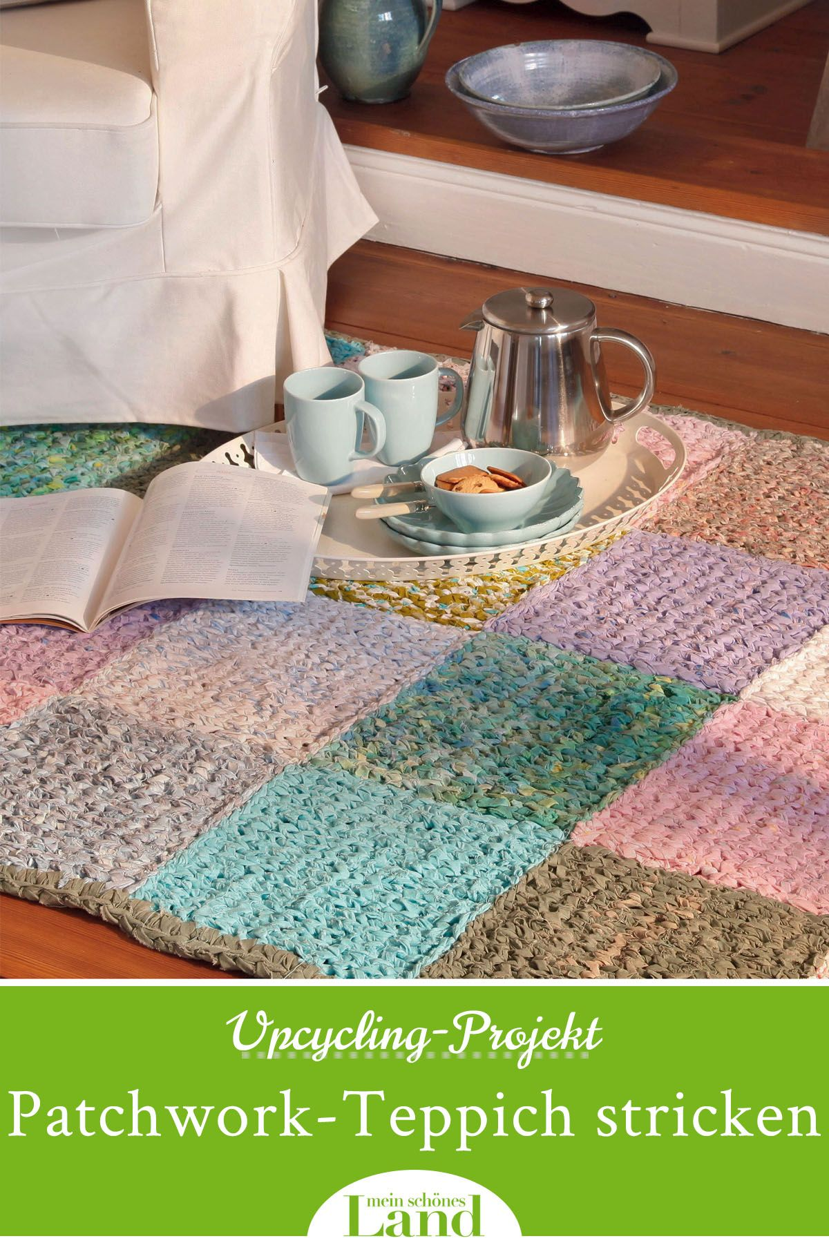 Upcycling-Projekt: Patchwork-Teppich selber stricken in 19
