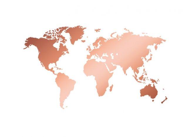 World Map Copper Plakat