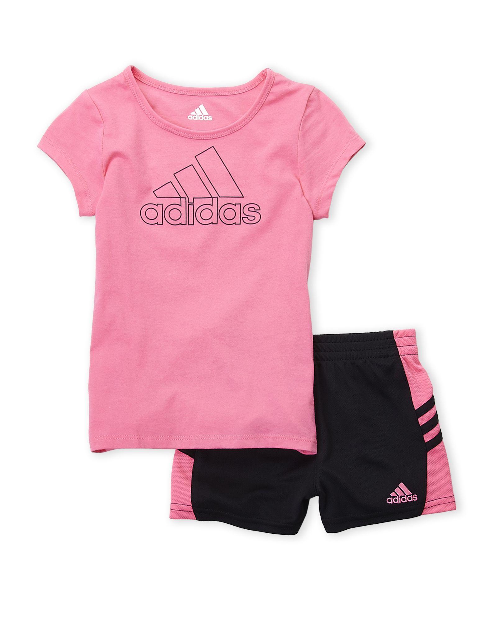 87c851f5 Infant Girls) Two-Piece Logo Tee & Side Stripe Shorts Set in 2019 ...
