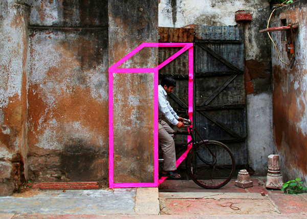 The Urban Landscape Transformed by Geometric Tape by Aakash Nihalani