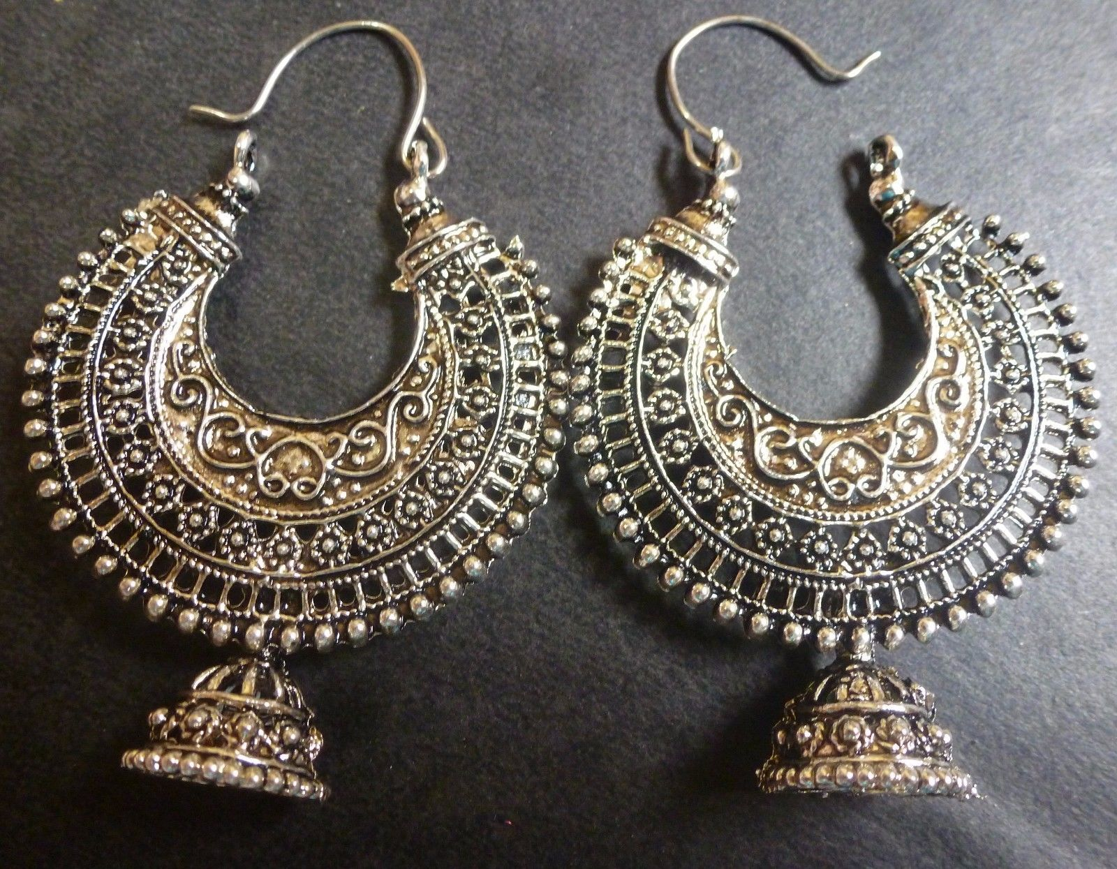 0702a5c09f3b12 Vintage Antique Silver Plated Chand Bali Half Circle Indian Earrings Jhumka  Set.