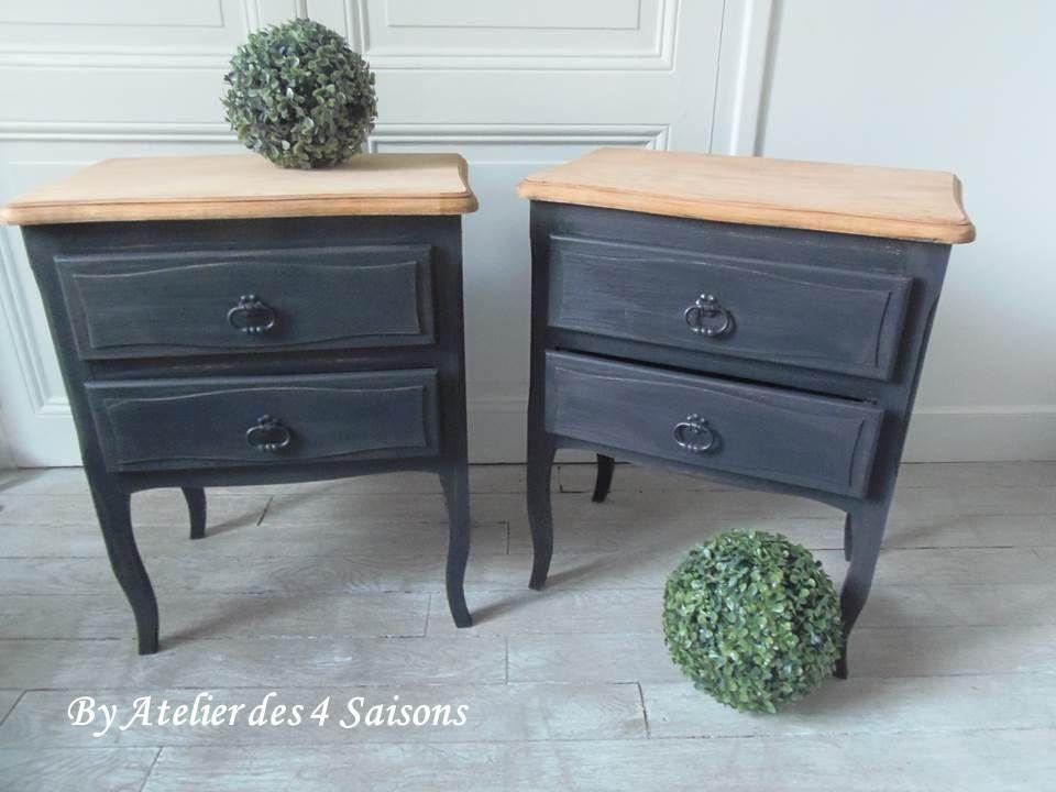 deux adorables chevets en bois et placage de bois abandonn s trop longtemps dans un grenier. Black Bedroom Furniture Sets. Home Design Ideas