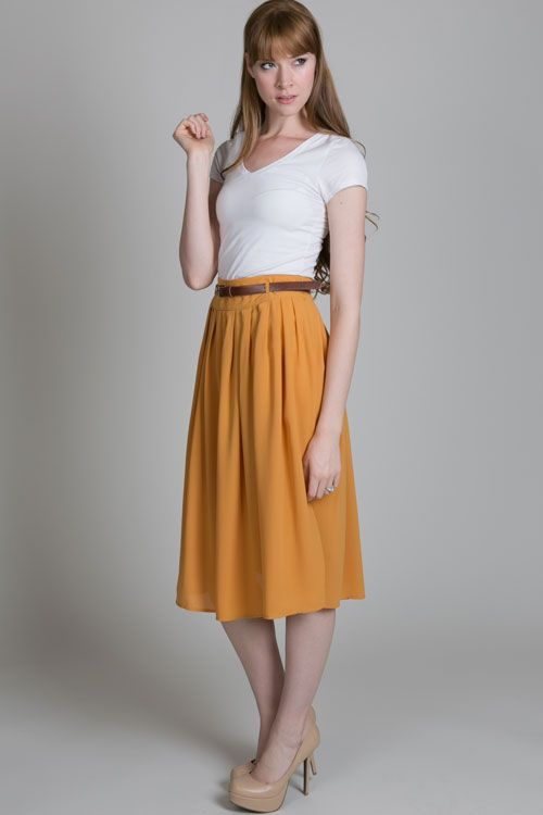 612ebf770aacc0 easy to style mid-length skirt. I love the color. | Clothings ...