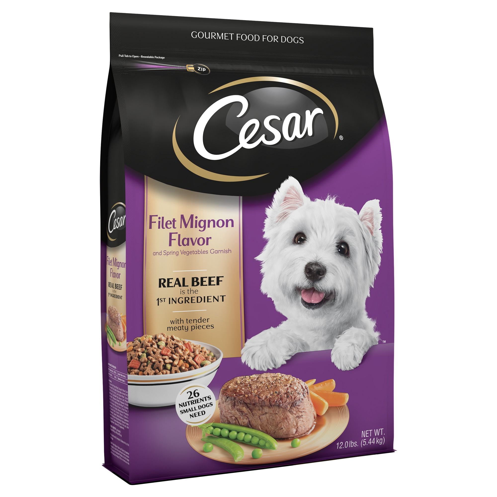 Cesar Dry Filet Mignon Flavor With Spring Vegetables Dry Dog