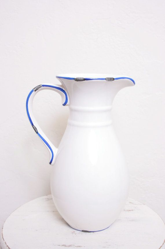 Vintage White Ceramic Pitcher Or Water Jug With Blue Outlining