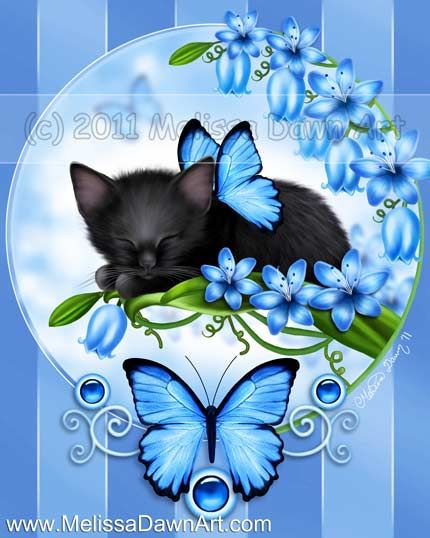 """Butterfly Kittens 3: Bluebells - """"The calm beauty of these beautiful bluebell flowers has lulled this sweet little black kitten to sleep."""" by Melissa Dawn"""