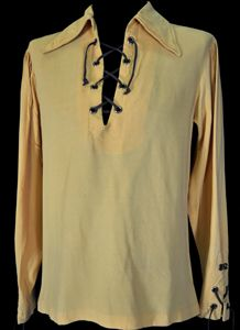 Mens Vintage Clothing 1960's Gold Lace Up Hippie Shirt