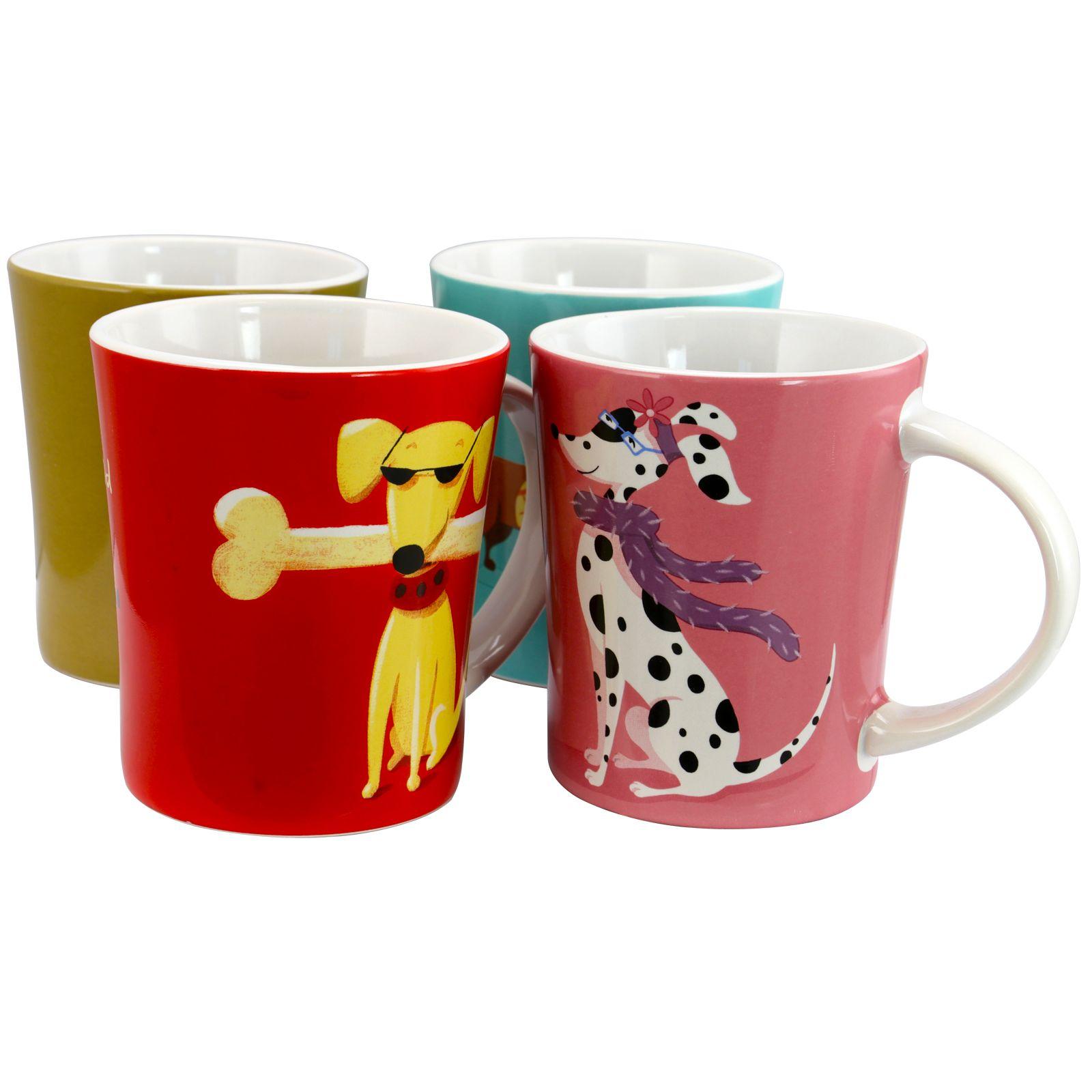 6d15e1cdfaf Gibson Home Doggy Daily 15 oz Mug Set, Set of 4 Assorted Designs in ...