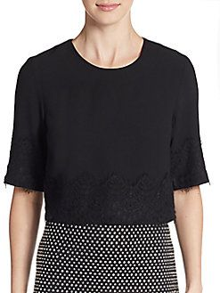French Connection - Linea Lace-Trimmed Crop Top