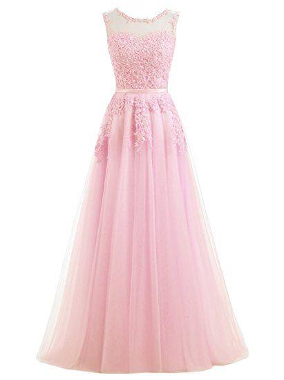 Ever Love A-Linie Langes Abschlussball Kleid mit Spitze, rückenfrei ...
