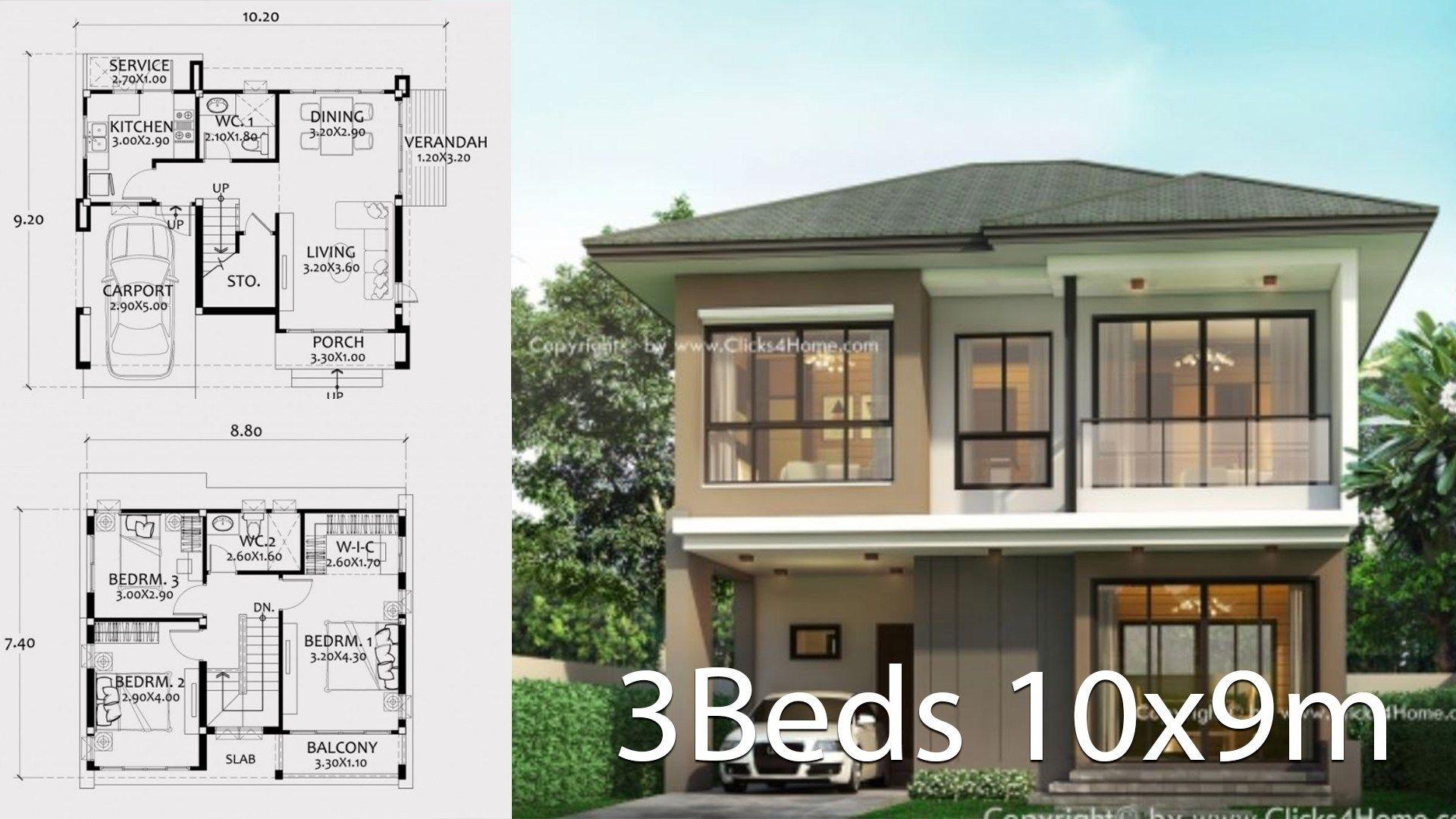 Home Design Plan 10x9m With 3 Bedrooms Home Design With Plan Home Design Plan Home Design Plans House Design