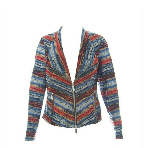 600 West Jacket Multi-colored zip front 2 pocket jacket. 100% Polyester. 600 West Jackets & Coats