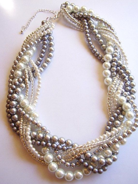 This is not a finished products, this is a listing for custom orders. The pricing listed is for 1 ~ 7 strand pearl necklace. If you buy this listing you need to convo me or write in notes which necklace you would like and what colors. Prices change per amount of strands. Pearl, braided twisted beaded necklace 18 - 21 inches. Necklace has a lobster claw clasp, and 3 inch extender chain. These necklaces are all different necklaces I have done for bridal parties. They are glass pearl beads…