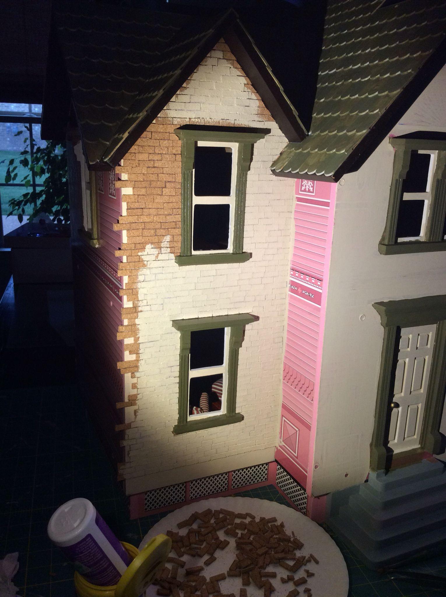 Painted brick exterior on dollhouse, DIY