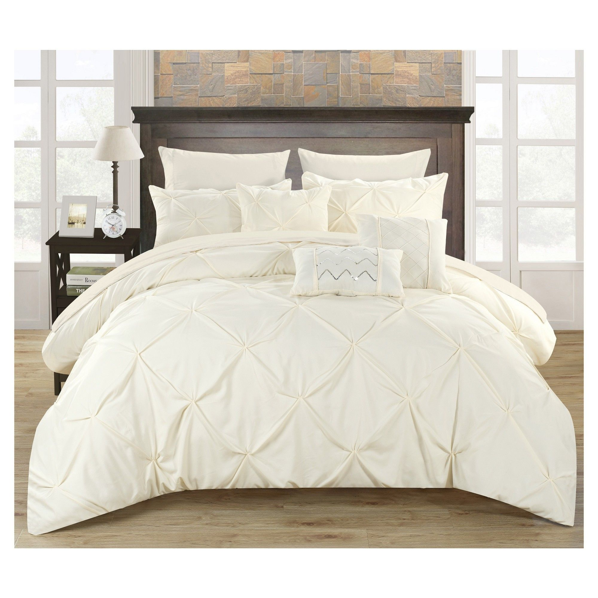 Valentina Pinch Pleated & Ruffled Comforter Set 10 Piece (Queen ...