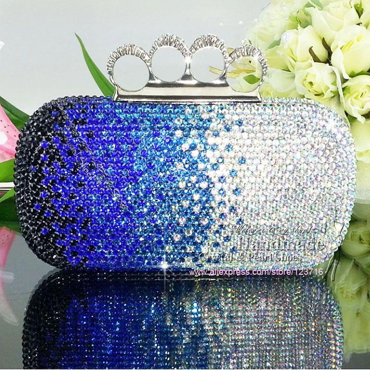 Blue And Silver Evening Bag Womens Shoulder Messenger Satchel Medium Casual Clutch
