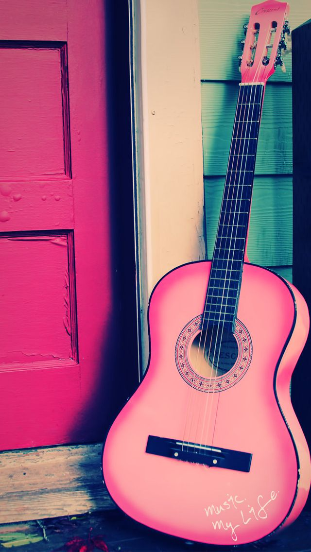 Iphone 5 Wallpaper Music Wallpaper Pink Music Pink Guitar