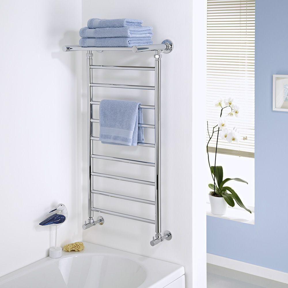 Milano Pendle - Chrome Heated Towel Rail with Heated Shelf 1000mm x ...