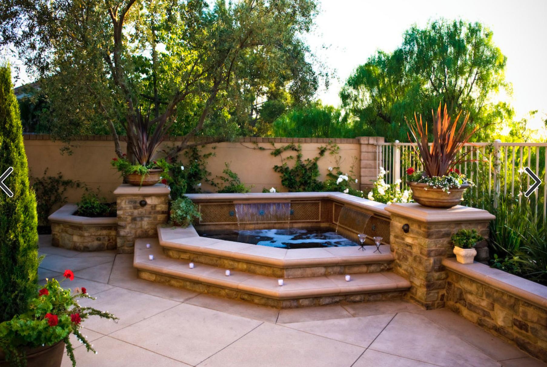 Backyard Spool Hot Tub Pool For Downward Slope In Backyard