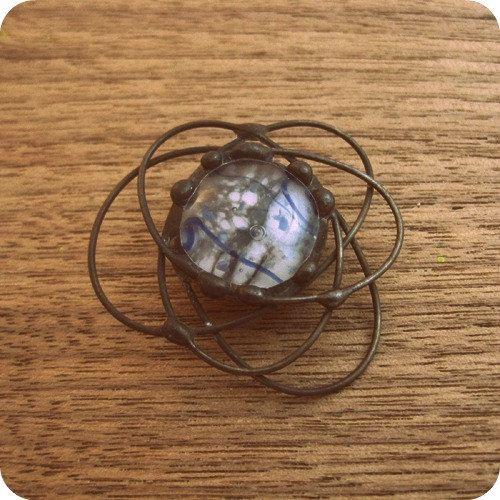 fused glass cosmic brooch