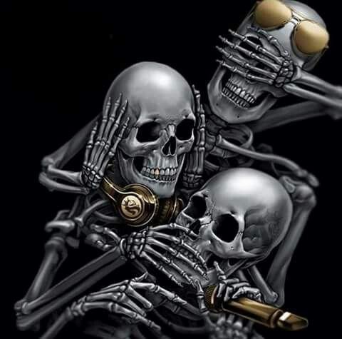 seehearspeak noevil skulls pinterest skull skull art and tattoos. Black Bedroom Furniture Sets. Home Design Ideas