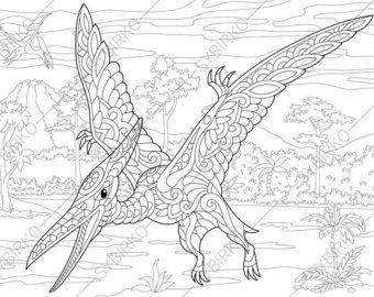 adult coloring pages dinosaur pterodactyl zentangle doodle coloring pages for adults digital. Black Bedroom Furniture Sets. Home Design Ideas