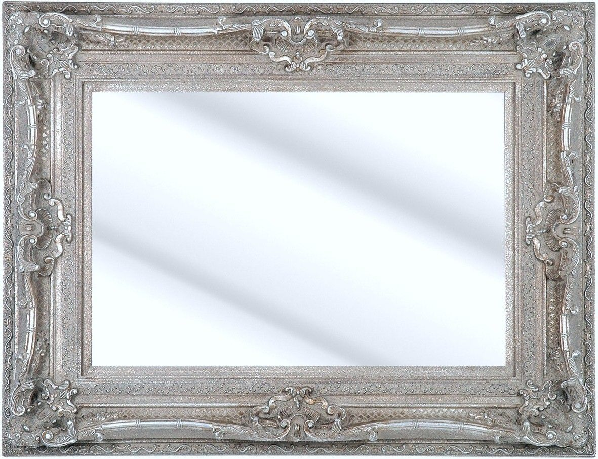 Como silver framed ornate bevelled mirror 6 sizes click for Large silver wall mirror
