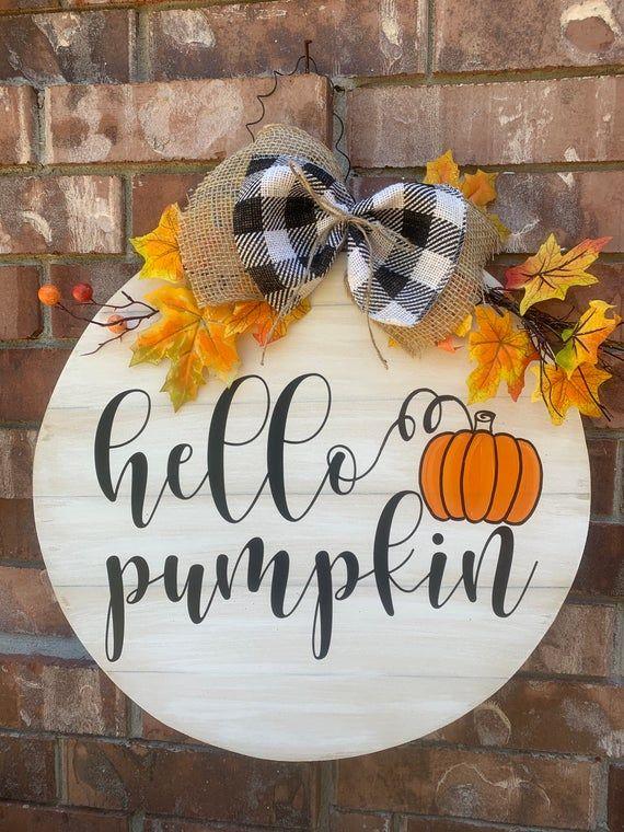 Farmhouse Pumpkin Fall door hanger halloween door decor Fall Y/'all Door Hanger Halloween door hanger halloween decorations