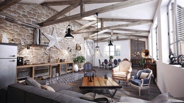 Interior : Classic Rustic Living Room Interior Design With Stylish Stone  Wall And Wooden Floor Picture