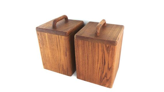 Item Set Of 2 Wood Canisters Wooden Canister Set Modern Kitchen Beautiful Wooden Beautiful Wood Canister Sets