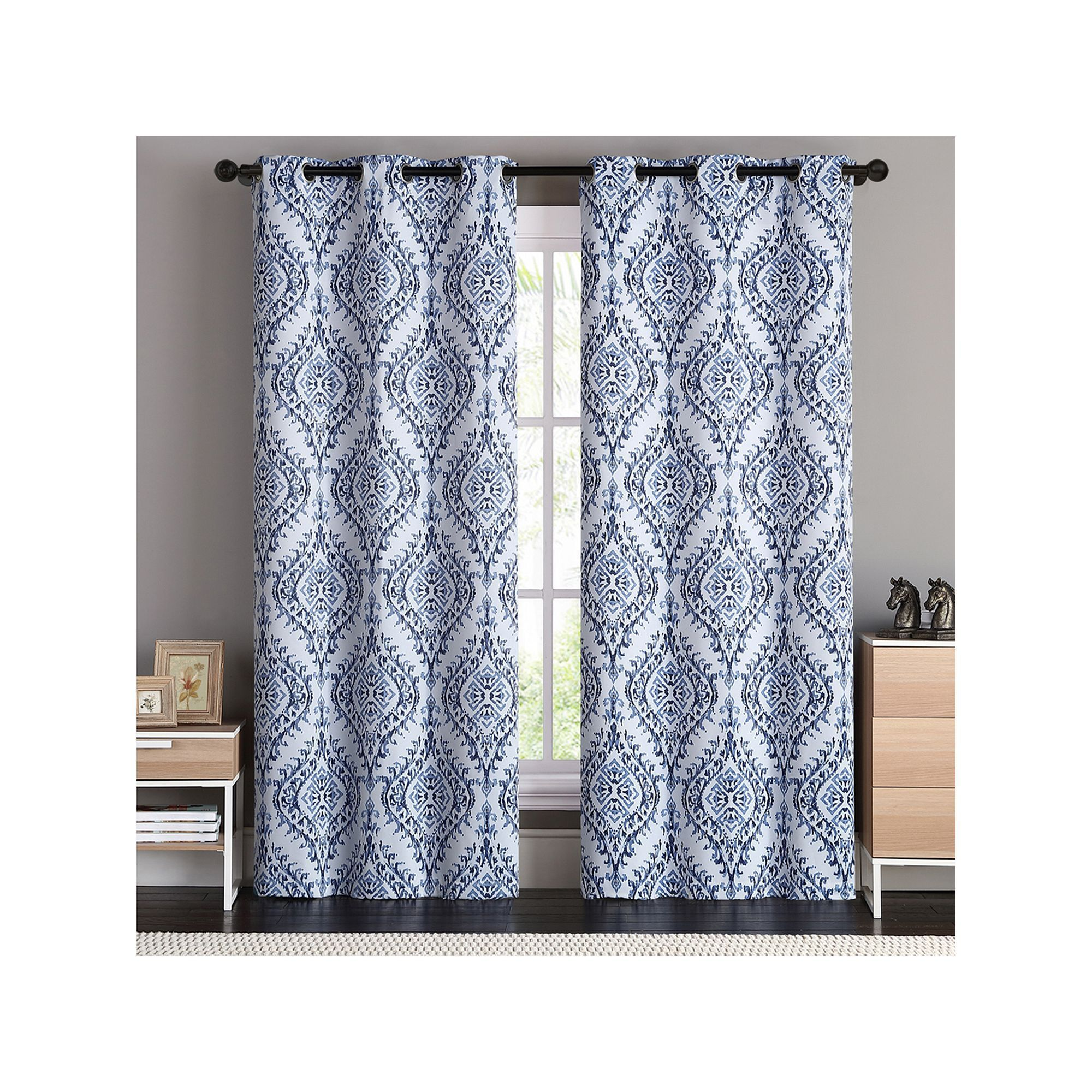 Vcny 2 Pack London Blackout Curtain Blue Panel Curtains Drapes Curtains