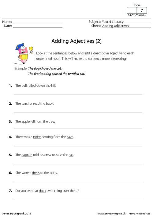 adding adjectives 2 worksheet english printable worksheets primaryleap. Black Bedroom Furniture Sets. Home Design Ideas