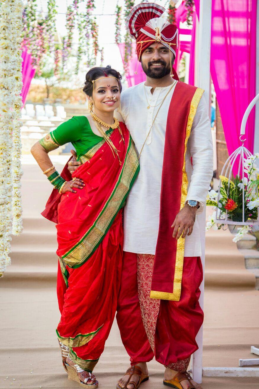Maharashtrian Wedding Marathi Couple Nauwari Saree Bride Indian Wedding Decor Couple Wedding Dress Wedding Dress Men Couples Wedding Attire