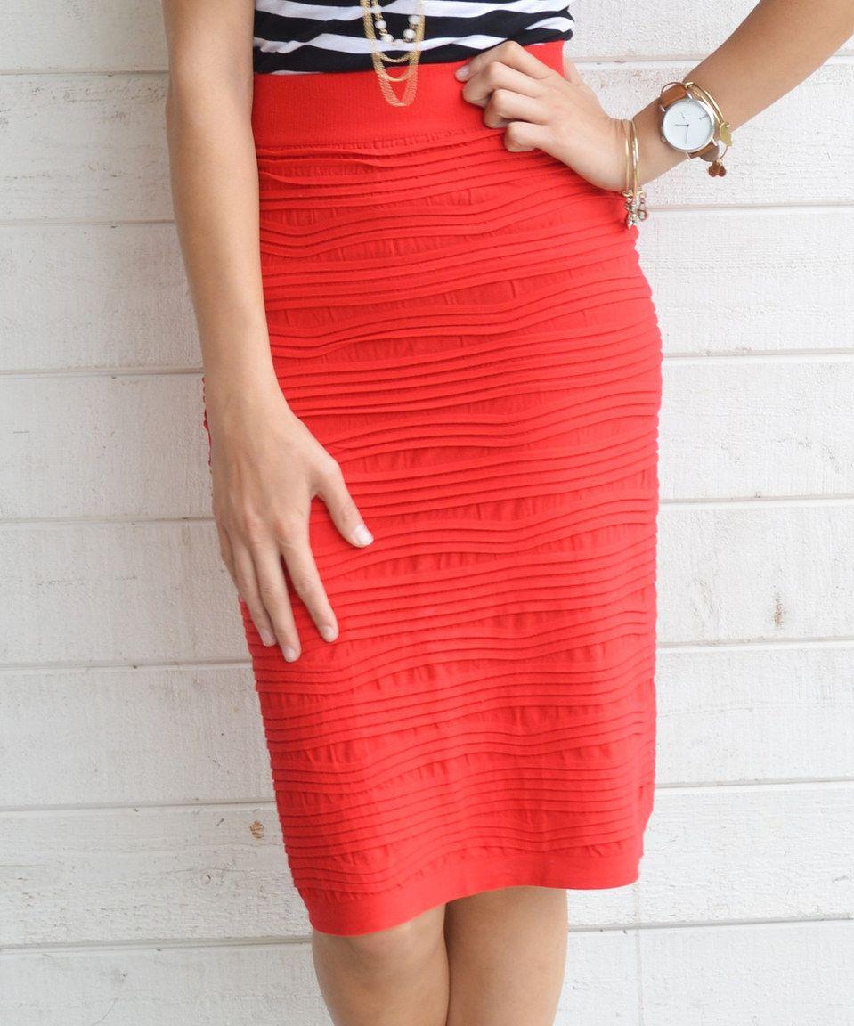 Love this Bella Mikol Designs Red Ruffle Pencil Skirt - Women by Bella Mikol Designs on #zulily! #zulilyfinds