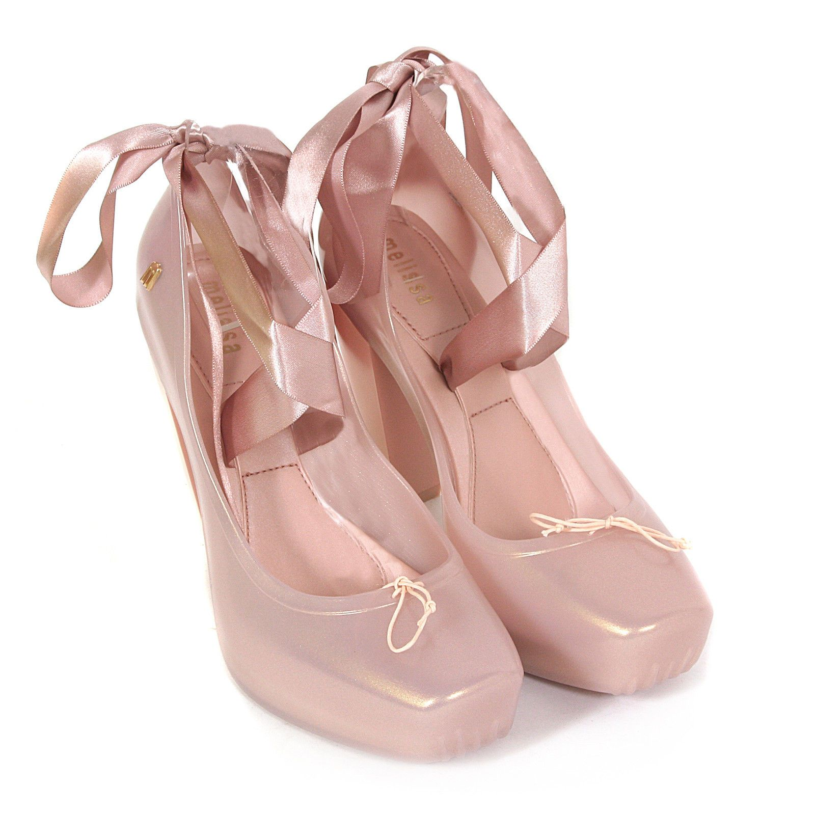 Melissa Women s Ballet Heel Plastic Ribbon Blush Pearl Gloss  572b60782585